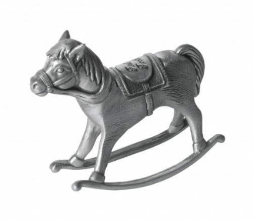 Pewter Rocking Horse First Tooth Christening Gift